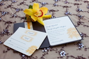 invitation booklet inside with reply set and information card