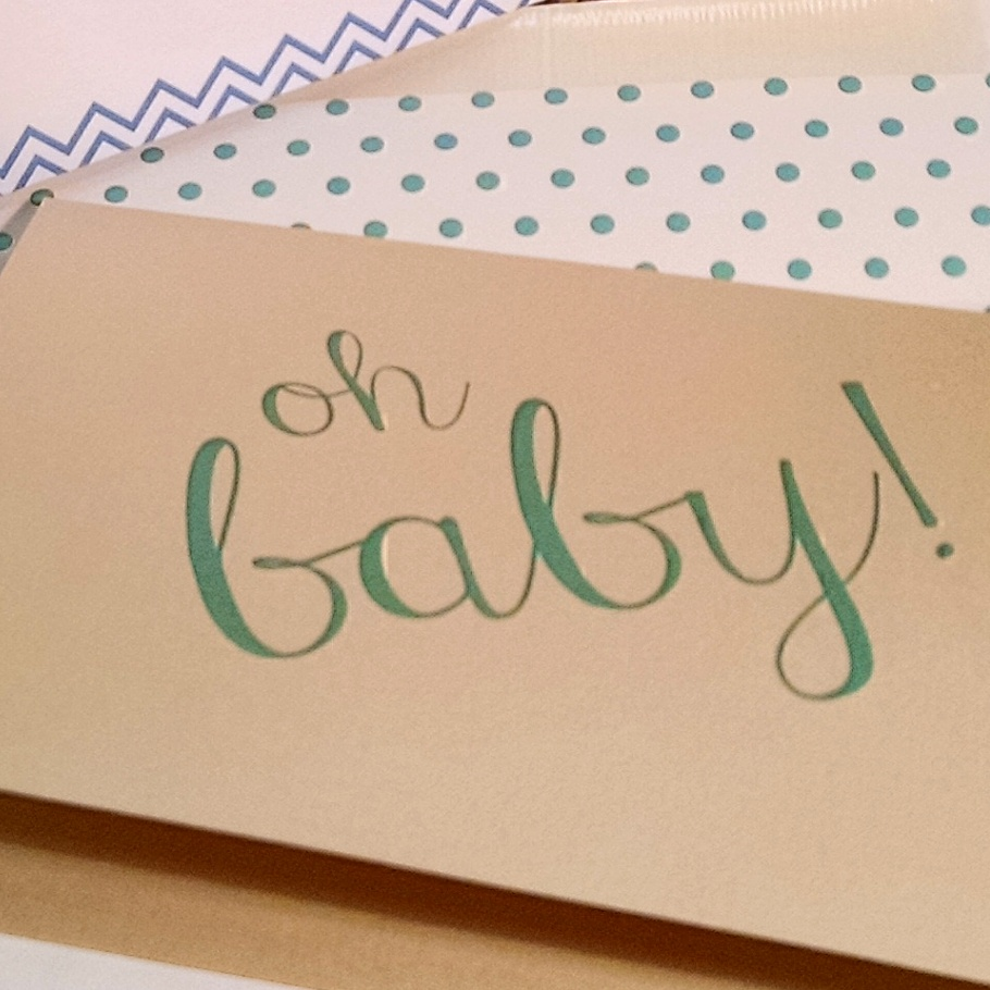 Oh Baby Letterpress Greeting Card In Mint Green On Gold Ideachic